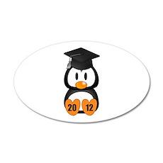 Custom Gradution Penguin 20x12 Oval Wall Decal