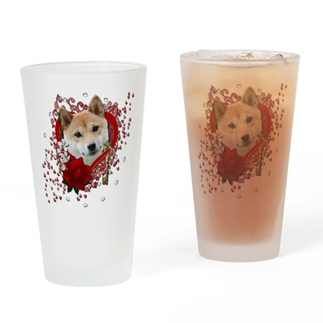 Valentines - Key to My Heart Shiba Inu Drinking Gl
