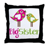 Polka Dot Birds Big Sister Throw Pillow