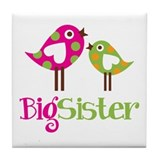 Polka Dot Birds Big Sister Tile Coaster