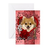 Valentines - Key to My Heart Pomeranian Greeting C