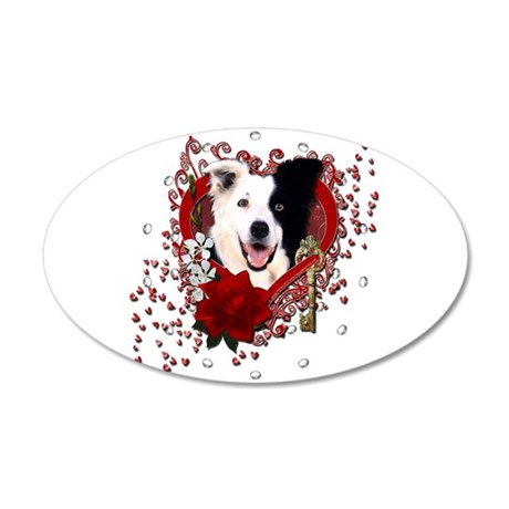Valentines - Key to My Heart Border Collie 38.5 x
