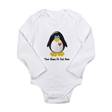 Customizable Penguin Long Sleeve Infant Bodysuit