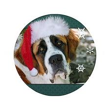 "Christmas St. Bernard Dog Pho 3.5"" Button"