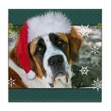 Christmas St. Bernard Dog Pho Tile Coaster