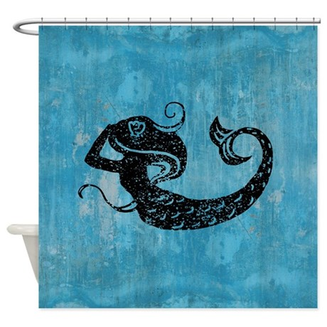 Grunge Blue Mermaid Silhouette Shower Curtain
