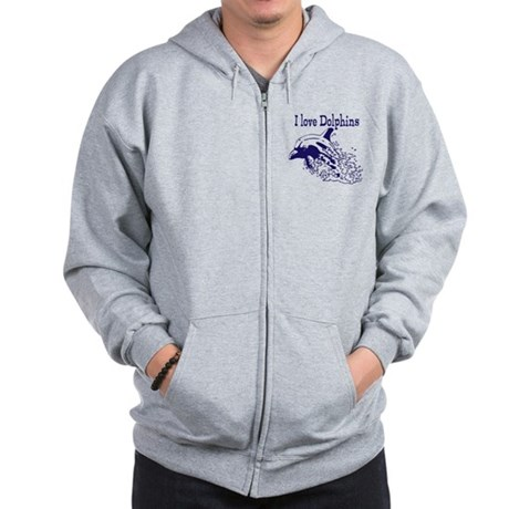 I love Dolphins Zip Hoodie