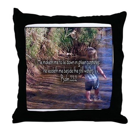 Psalm 23:2 Throw Pillow