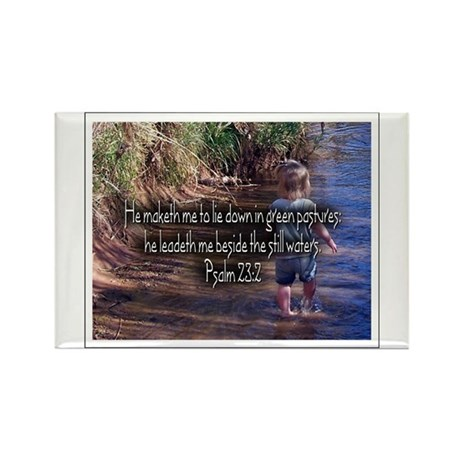 Psalm 23:2 Rectangle Magnet (100 pack)