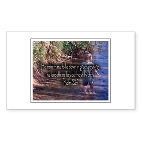 Psalm 23:2 Rectangle Sticker