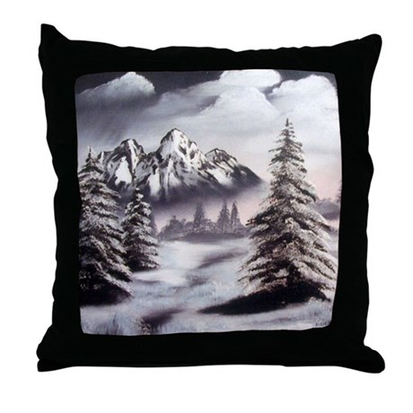 Snow Mountain Throw Pillow