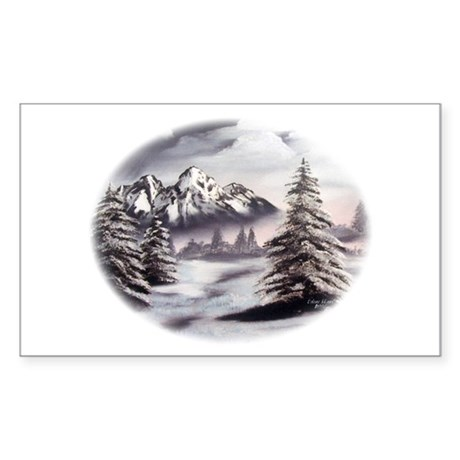 Snow Mountain Rectangle Sticker