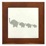 Elephants Design Framed Tile