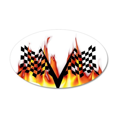Racing Flag Fire 1 38.5 x 24.5 Oval Wall Peel