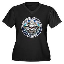 USN Machinery Repairman Skull Women's Plus Size V-