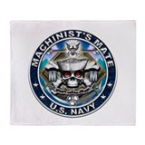USN Machinists Mate Skull MM Throw Blanket