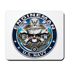 USN Engineman Skull EN Blue Mousepad