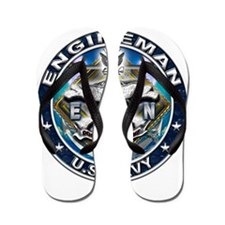 USN Engineman Skull EN Blue Flip Flops