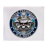 USN Sonar Technician Skull ST Throw Blanket