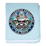 USN Intelligence Specialist Skull IS Blue baby bla