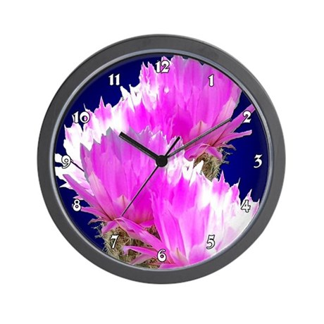 Cactus Blooms Wall Clock
