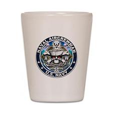 USN Naval Aircrewman Skull AW Shot Glass