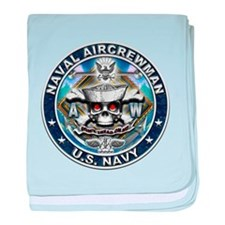 USN Naval Aircrewman Skull AW baby blanket