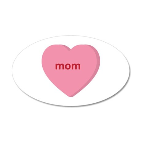 Candy Heart - Mom 38.5 x 24.5 Oval Wall Peel