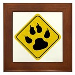 Cat Crossing Sign Framed Tile