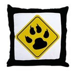 Cat Crossing Sign Throw Pillow