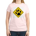 Cat Crossing Sign Women's Pink T-Shirt