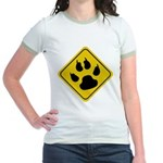 Cat Crossing Sign Jr. Ringer T-Shirt