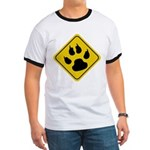 Cat Crossing Sign Ringer T