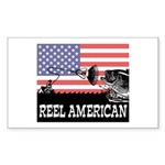 Reel American Fishing Rectangle Sticker