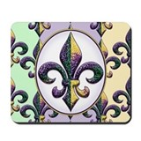 Fleur de lis Mardi Gras beads Mousepad
