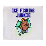 Ice Fishing Junkie Throw Blanket