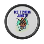 Ice Fishing Junkie Large Wall Clock