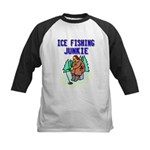 Ice Fishing Junkie Kids Baseball Jersey