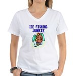 Ice Fishing Junkie Women's V-Neck T-Shirt