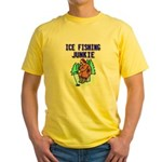Ice Fishing Junkie Yellow T-Shirt