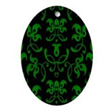 Fancy Green Vines Ornament (Oval)