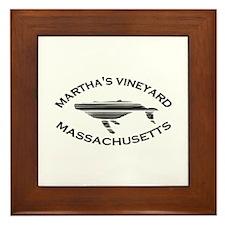 Martha's Vineyard MA - Whale Design. Framed Tile