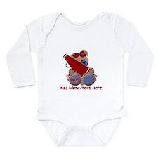 Teddy Cheerleader (red) Long Sleeve Infant Bodysui