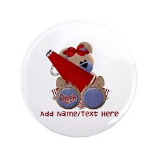 """Teddy Cheerleader (red) 3.5"""" Button"""