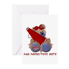 Teddy Cheerleader (red) Greeting Cards (Pk of 10)