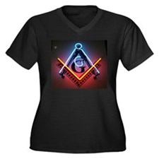 Neon Blue Lodge Women's Plus Size V-Neck Dark T-Sh