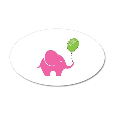 Elephant with balloon 38.5 x 24.5 Oval Wall Peel