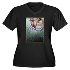 Cat, pet, animal, art, Women's Plus Size V-Neck Da