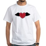 Winged Heart Couples White T-Shirt
