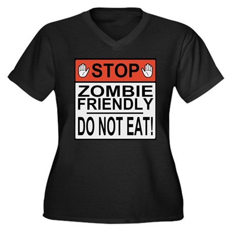 Zombie Friendly Women's Plus Size V-Neck Dark T